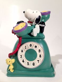 Snoopy and Woodstock Green Telephone Piggy Bank