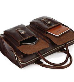 14 Men's Leather Briefcase Handmade Leather Messenger Bag Laptop Bag Business Bag For Men (3)