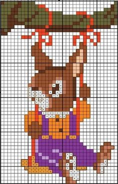 cross stitch chart bunny rabbit on a tree swing Spring Easter