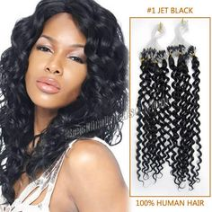 16-28 inch Full Head Curly Micro Ring Hair Extension in #1 Jet Black 100 strand/set Micro Loop Hair Extension