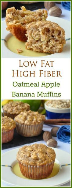 Oatmeal Apple Banana Low Fat Muffins - A very easy to make recipe for moist, delicious, healthy breakfast muffins that use a minimum of vegetable oil and added sugar.plus they are very high in fiber as well! It made 15 muffins with this recipe. Low Fat Muffins, Healthy Breakfast Muffins, Breakfast Recipes, Breakfast Ideas, Diet Breakfast, Vegan Muffins, Apple Breakfast, High Fiber Breakfast, Breakfast Casserole