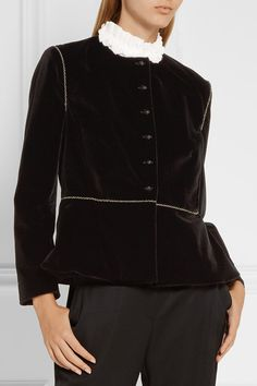 Black stretch-velvet Button fastenings through front 99% cotton, 1% elastane; lining: 100% silk Dry clean Made in the UK