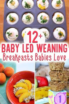 Start your baby on solid foods with real food! Here are 12 baby led weaning breakfast ideas to get you started Blw Breakfast Ideas, Baby Led Weaning Breakfast, Baby Led Weaning First Foods, Baby Breakfast, Baby Weaning, Toddler Meals, Kids Meals, Toddler Food, Healthy Sour Cream