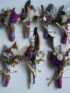 feather, purple and gold boutonniere ideas