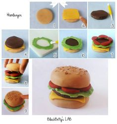 Tutorial on how to make a fondant hamburger Cute Polymer Clay, Cute Clay, Polymer Clay Miniatures, Fimo Clay, Polymer Clay Charms, Polymer Clay Cupcake, Cake Topper Tutorial, Cake Toppers, Fimo Kawaii