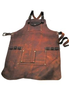 Leather Work Apron with Nail Pouch and Top Pocket Leather Tooling, Leather Wallet, Leather Holster, Crea Cuir, Shop Apron, Work Aprons, Leather Apron, Leather Workshop, Best Pocket Knife