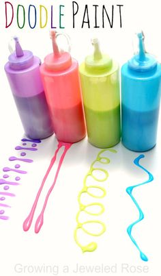 Homemade DOODLE Paint Recipe.  The consistency of the paint makes it really easy for kids to draw and make designs- SO FUN! posted by Crystal