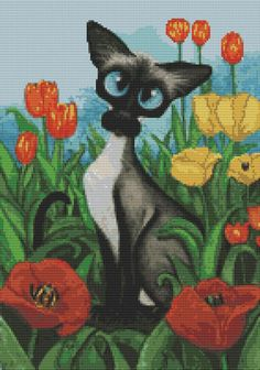 Modern cat cross stitch kit by AmyLyn Bihrle 'Siamese Poppies' - counted cross stitch
