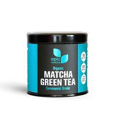 Epic Matcha Green Tea Powder - Ceremonial Grade - USDA Certified Organic - Includes 1 oz Storage Tin and 37+ Recipes - http://goodvibeorganics.com/epic-matcha-green-tea-powder-ceremonial-grade-usda-certified-organic-includes-1-oz-storage-tin-and-37-recipes/
