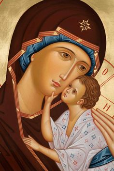 Panagia Mother of God and the Christ Child Religious Pictures, Religious Icons, Religious Art, Virgin Mary Painting, Virgin Mary Art, Byzantine Icons, Byzantine Art, Christian Images, Christian Art