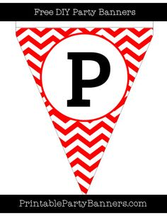 Red and White Pennant Chevron Capital Letter P