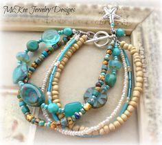 Gulf. Czech glass, glass seed beads and silver metal jewelry. #bracelet #jewelry #handmade #boho #bohemian