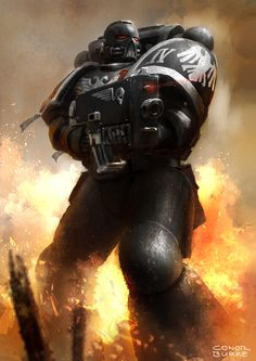 conorburke: Some long overdue 40k fanart I did this weekend: Raven Guard Space Marine by Mac-tire