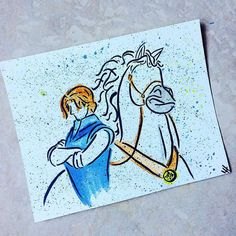 Flynn Rider and Maximus in watercolor ... I hate how my camera doesn't pick up all the different lighter colors... Maybe I need to look into a scanner hmm ... #disneyfanart #disneyart #disney #disneyartfeatures #disneyartshare #disneyarts #disneyartwork #disneyartshelp #rapunzel #flynn #maximus #art #watercolor