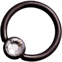 Black Steel Ball Closure Rings with Clear Jewelled Steel Ball