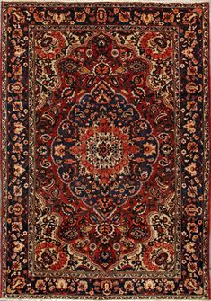 "Bakhtiari Persian Rug, Buy Handmade Bakhtiari Persian Rug 6' 11"" x 9' 11"", Authentic Persian Rug"