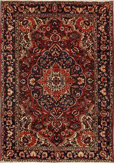 """Bakhtiari Persian Rug, Buy Handmade Bakhtiari Persian Rug 6' 11"""" x 9' 11"""", Authentic Persian Rug"""