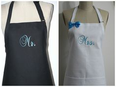 Personalized Mr. and Mrs. Aprons Gift Set - Bride and Grooms Aprons -His and Hers Aprons, Custom Colors Aprons, Blue Aprons by Wheelering on Etsy