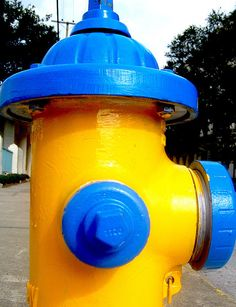 blue & yellow hydrant by JennRation Design, via Flickr