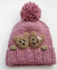shared a new photo on Etsy - Bear hat kids winter hat knit hat pom pom - Kids Winter Hats, Kids Hats, Winter Ideas, Baby Winter, Baby Knitting Patterns, Hand Knitting, Baby Hats Knitting, Crochet Hat Pattern Kids, Baby Hat Knitting Patterns Free