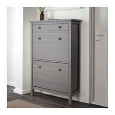 """HEMNES Shoe cabinet with 2 compartments, dark gray gray stained - """" - IKEA Source by politegul shoes Front Door Shoe Storage, Shoe Storage Cabinet, Locker Storage, Ikea Shoe Storage, Storage Cabinets, Ikea Closet Doors, Closet Redo, Ikea Hemnes Shoe Cabinet, Shoe Cabinet Entryway"""