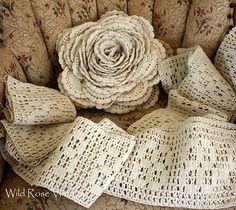 Wild Rose Vintage: Giant Crochet Lace Rose and Other Treasures