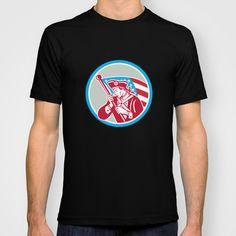 American Patriot Soldier Waving Flag Circle T-shirt