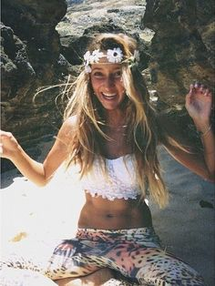Flower child modern hippie headband with boho chic lacey bralette top. For the BEST Bohemian fashion trend ideas FOLLOW https://www.pinterest.com/happygolicky/the-best-boho-chic-fashion-bohemian-jewelry-gypsy-/ now!