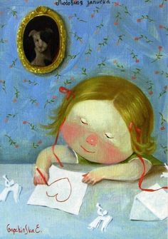 Postcard with a painting called Love Note by Ukrainian artist Eugenia Gapchinska. Sent by a Postcrosser in Ukraine. Fun Illustration, Illustrations, Ukrainian Art, Happy Art, Japanese Artists, Funny Art, Naive, Christmas Humor, Girl Humor