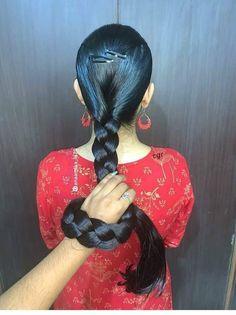 Long Bob Hairstyles, Indian Hairstyles, Braided Hairstyles, Indian Long Hair Braid, Long Hair Models, Long Dark Hair, Hair Pulling, Hot Hair Styles, Playing With Hair