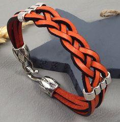 Kit tutoriel bracelet cuir tresse orange 4 brins avec fermoir ethnique : Kits, tutoriels bijoux par bijoux-giuliana