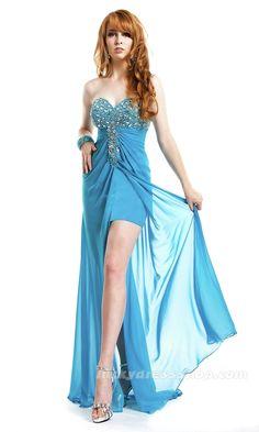 Blue Strapless Empire Chiffon Prom Dress With Zipper Up (MF62FA)