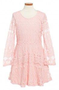 Pale pink long sleeve lace dress Spring 2016, Tween Fashion, Tween Girls dresses. www.tweeninstyle.com