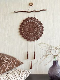 Size of dream catcher: diameter - 10.5, total length - 28.7  Materials: wood, cotton, the backside coated with special fastening compound.  Color: Chocolate (ready to ship).  Available to order (please, alllow me 7 days to make your order): - Black - Gray - Anthracite - Dusty Rose - Milk - Emerald - Green Grass  Handmade dream catchers are intended to protect people who are sleeping from negative, bad dreams while still letting the positive, good dreams come through. The dream catcher can…
