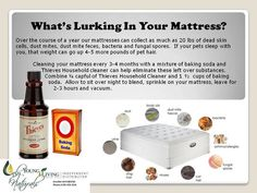 A way to clean your mattress with Young Living Essential Oils. So many people are allergic to dust mites.  Cari Caraway ARNP- Young Living #1492362