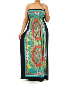 Look at this #zulilyfind! Green & Black Paisley Smocked Maxi Dress - Plus by Pretty Young Thing #zulilyfinds