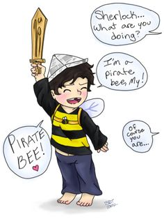 Pirate bee! Hopefully fans know that Sherlock eventually became a beekeeper in canon.////simply darling