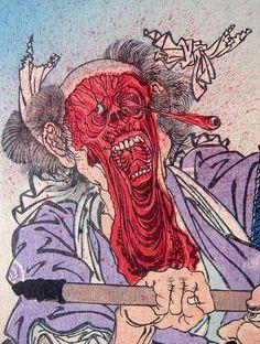 Toshidama Gallery:Kyosai, Two Battling Warriors Detail | Flickr: Intercambio de fotos