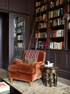 comfortable and stylish seating in this English library ~ Douglas Mackie design