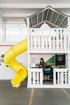 indoor playground with slide at Hedley & Bennett studio dtla. / sfgirlbybay