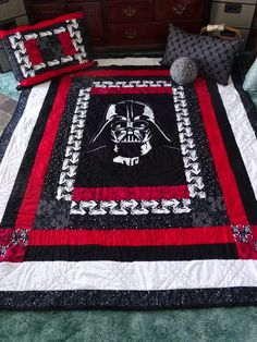 Darth Vader Fabric Anakin Skywalker Star Wars Movie Best Gifts For Films Lovers Quilt Star Wars Baby, Star Wars Kids, Quilt Baby, Boy Quilts, Star Wars Quilt, Star Wars Crafts, Star Wars Decor, Cadeau Star Wars, Star Wars Zimmer