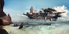 by Pablo Garcia ~ Concept Architecture, Fantasy, Future Flying Architecture, Concept Architecture, Virtual World, Creative Writing, Sailing Ships, Futuristic, Concept Art, Illustration Art, Boat