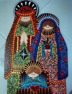 Mandala Art, Mandala Painting, Diy Nativity, Christmas Nativity, Christmas Diy, Rock Painting Patterns, Dot Art Painting, Mosaic Tile Designs, Paper Embroidery