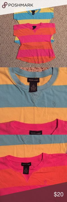 Polo by Ralph Lauren Girls Shirts Polo by Ralph Lauren Girls Shirts; EUC; girls sz 4 - 2 Shirt BUNDLE: Hot pink and orange stripes & Aqua and yellow stripes Polo by Ralph Lauren Shirts & Tops Tees - Short Sleeve