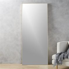 """Shop infinity brass 32""""x76"""" floor mirror.   Mirror image without bounds framed thin, trim and exact in pure extruded aluminum with a brushed brass finish.  Resists corrosion to work bath or kitchen, too."""