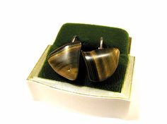 Vintage Natural Tigers Eye Stone Clip Earrings by ditbge on Etsy, $4.75
