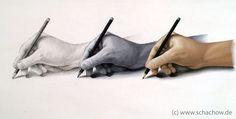 Gemälde von einer Hand mit einem Bleistift
