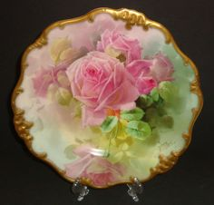 Antique Royal Doulton Plate C Porcelain hand painted roses signed rare 1897 Antique Plates, Vintage Plates, Vintage Dishes, Vintage China, Antique China, Porcelain Ceramics, China Porcelain, Painted Porcelain, Hand Painted Plates