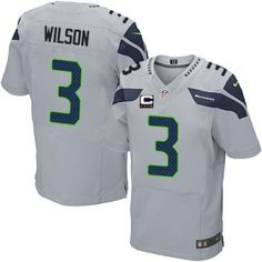 Elite Men's Grey Russell Wilson C Patch Alternate Jersey - #3 Seattle Seahawks NFL NK281299