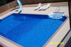 Rectangle Inground Swimming Pool in Missouri - Gartengestaltung Pool Spa, Diy Pool, Swimming Pools Backyard, Pool Landscaping, Inground Pool Designs, Vinyl Pools Inground, Missouri, Beach Entry Pool, Cheap Pool